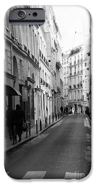 Balcony iPhone Cases - Paris Rue St. Honore Street Art Deco - Paris Black and White Street Architecture iPhone Case by Kathy Fornal
