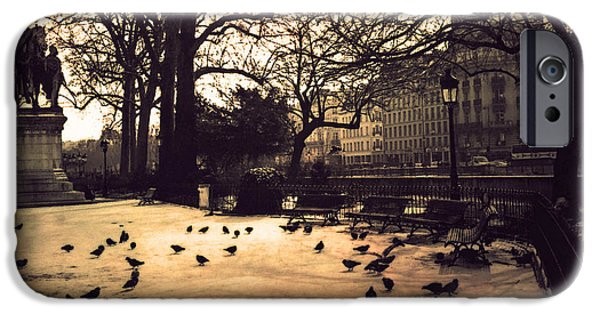 Notre Dame Cathedral iPhone Cases - Paris Sepia Photography - Notre Dame Cathedral Courtyard Monuments Statues With Pigeons iPhone Case by Kathy Fornal