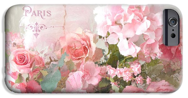 Romantic Art iPhone Cases - Paris Shabby Chic Dreamy Pink Peach Impressionistic Romantic Cottage Chic Paris Flower Photography iPhone Case by Kathy Fornal