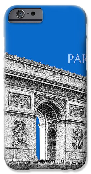 Pen And Ink iPhone Cases - Paris Skyline Arc de Triomphe - Blue iPhone Case by DB Artist