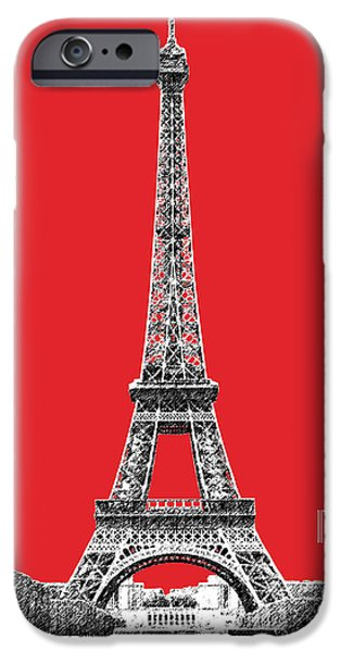 Pen And Ink iPhone Cases - Paris Skyline Eiffel Tower - Red iPhone Case by DB Artist