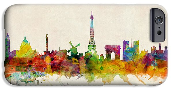 Watercolor iPhone Cases - Paris Skyline iPhone Case by Michael Tompsett