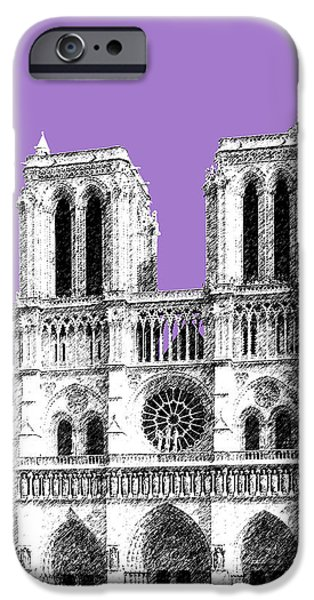 Notre Dame Cathedral iPhone Cases - Paris Skyline Notre Dame Cathedral - Violet iPhone Case by DB Artist