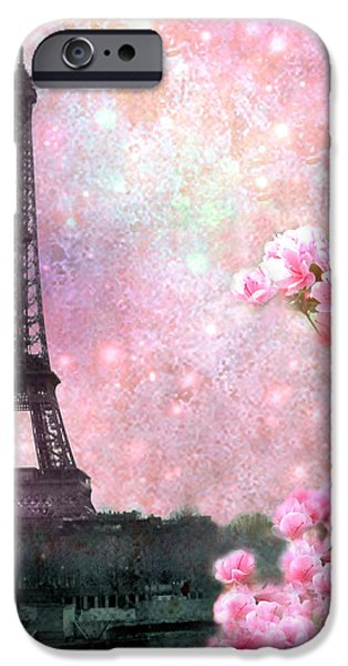 Cherry Blossoms iPhone Cases - Paris Spring Eiffel Tower Cherry Blossoms - Paris Spring Eiffel Tower Pink Blossoms  iPhone Case by Kathy Fornal