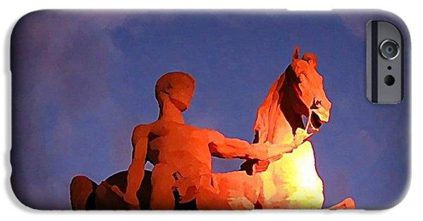 Halifax Art Work iPhone Cases - Paris Statue near Eiffel Tower at Night iPhone Case by John Malone