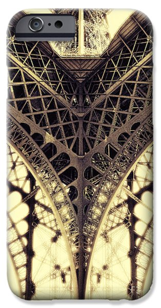 Built Structure Pyrography iPhone Cases - Paris Steel iPhone Case by ARTSHOT - Photographic Art