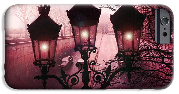 Night Lamp iPhone Cases - Paris Street Lamps Architecture - Paris romantic Dark Rouge Rose Street Lamps Lights and Lanterns  iPhone Case by Kathy Fornal