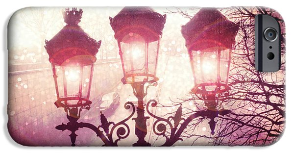 Night Lamp iPhone Cases - Paris Street Lanterns Lamps Street Architecture - Paris Ornate Lanterns Lamps iPhone Case by Kathy Fornal