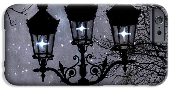 Night Lamp iPhone Cases - Paris Street Lights Lanterns - Paris Starry Night Dreamy Surreal Starlit Night Street Lamps of Paris iPhone Case by Kathy Fornal