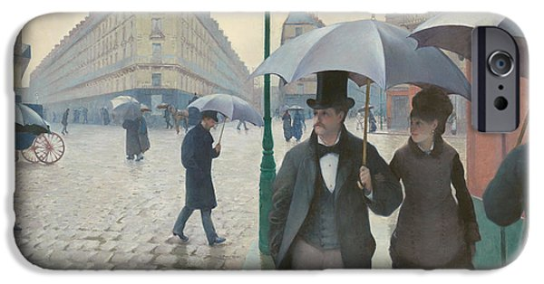 Rainy Day iPhone Cases - Paris Street Rainy Day iPhone Case by Gustave Caillebotte