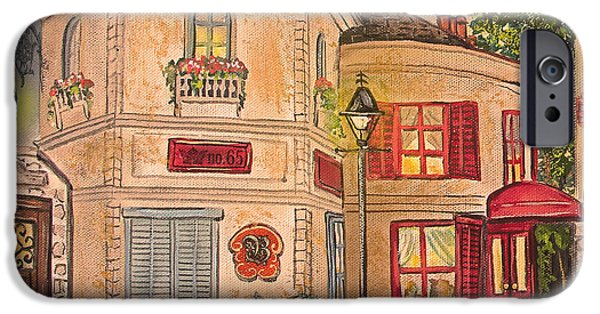 Night Lamp Paintings iPhone Cases - Paris Street Scene-A iPhone Case by Jean Plout