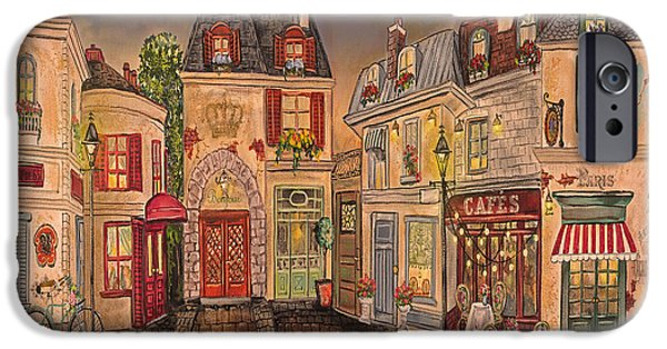 Night Lamp Paintings iPhone Cases - Paris Street Scene-D iPhone Case by Jean Plout