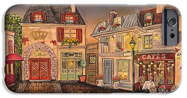 Night Lamp iPhone Cases - Paris Street Scene-E iPhone Case by Jean Plout