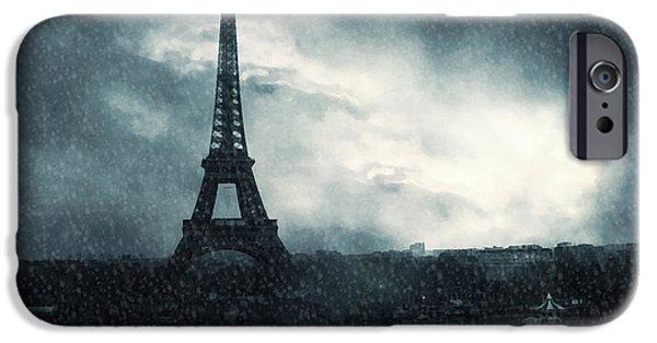 Snow Scene iPhone Cases - Paris Surreal Eiffel Tower Stormy Winter Snow Landscape - Eiffel Tower Winter Snow Ethereal Skies iPhone Case by Kathy Fornal