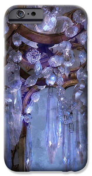 Paris Surreal Haunting Crystal Chandelier Mirrored Reflection - Dreamy Blue Crystal Chandelier  iPhone Case by Kathy Fornal