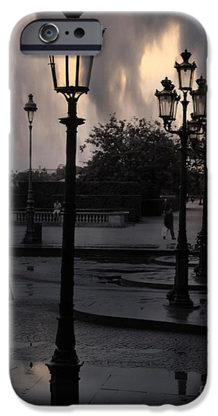 Night Lamp iPhone Cases - Paris Surreal Louvre Museum Street Lanterns Lamps - Paris Gothic Street Lamps Black Clouds iPhone Case by Kathy Fornal