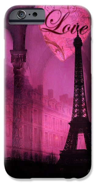 Print Photographs iPhone Cases - Paris Surreal Pink Fantasy Paris Eiffel Tower Architecture Montage - Love Heart Paris  iPhone Case by Kathy Fornal