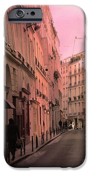 Balcony iPhone Cases - Paris Romantic Street Photography - Dreamy Paris Street Scene With Pink Sky Sunset iPhone Case by Kathy Fornal