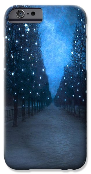 Park Scene iPhone Cases - Paris Tuileries Trees - Blue Surreal Fantasy Sparkling Trees - Paris Tuileries Park iPhone Case by Kathy Fornal