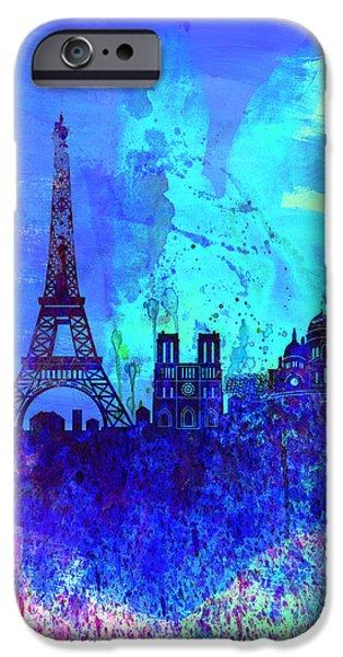 Downtown Digital iPhone Cases - Paris Watercolor Skyline iPhone Case by Naxart Studio