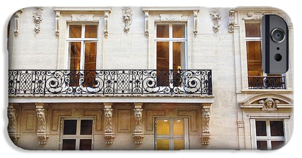 Balcony iPhone Cases - Paris Windows Balconies Winter White Black - Paris Art Nouveau Window Door Architecture Lace Balcony iPhone Case by Kathy Fornal