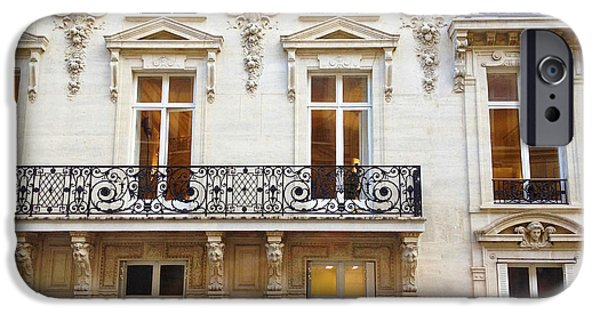 Balcony iPhone Cases - Paris Windows and Balconies - Winter White and Black Paris Windows Building Architecture Art Nouveau iPhone Case by Kathy Fornal