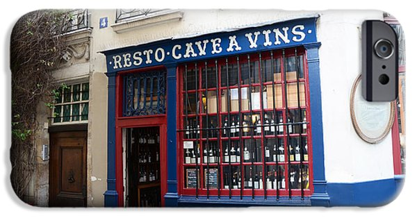French Doors iPhone Cases - Paris Wine Shop Resto Cave A Vins - Paris Street Architecture Photography iPhone Case by Kathy Fornal