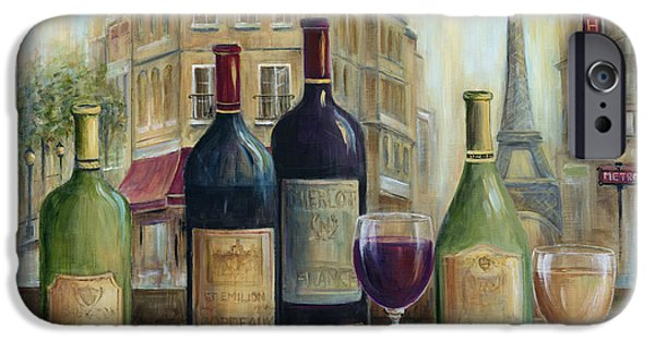 Glass Of Wine Paintings iPhone Cases - Paris Wine Tasting With A View iPhone Case by Marilyn Dunlap