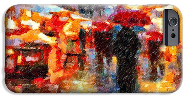 Rainy Day iPhone Cases - Parisian Rain Walk Abstract Realism iPhone Case by Georgiana Romanovna