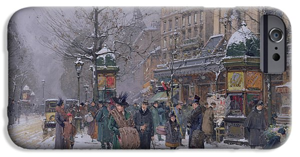Nineteenth Century iPhone Cases - Parisian Street Scene iPhone Case by Eugene Galien-Laloue