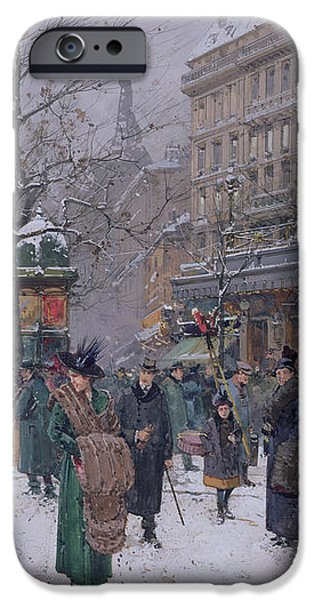 Parisian Street Scene iPhone Case by Eugene Galien-Laloue