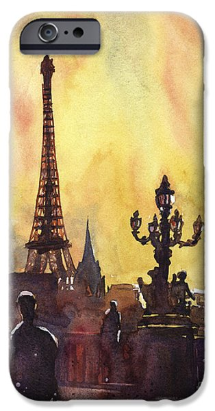 Cityscenes Paintings iPhone Cases - Parisian Sunset iPhone Case by Ryan Fox