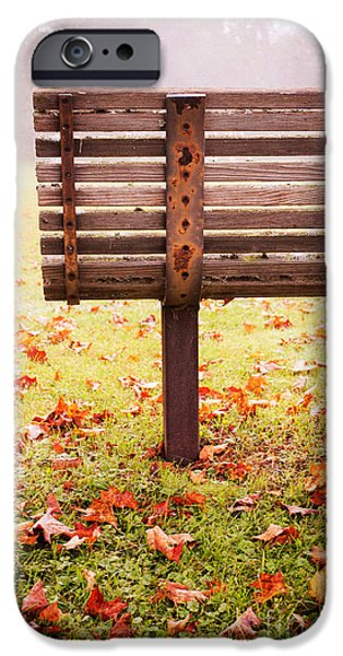 Bench iPhone Cases - Park Bench in Autumn iPhone Case by Edward Fielding