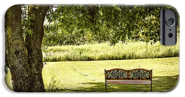 Park Benches iPhone Cases - Park bench under tree iPhone Case by Elena Elisseeva