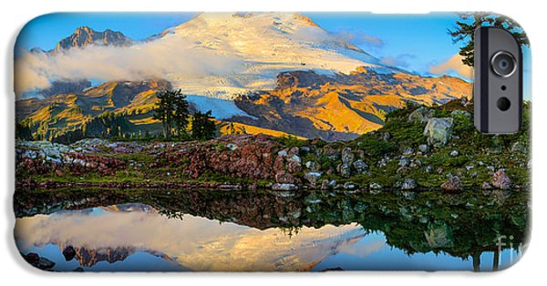 Drama iPhone Cases - Park Butte Panorama iPhone Case by Inge Johnsson