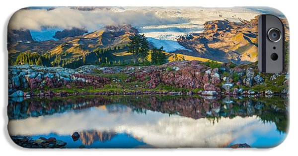 Drama iPhone Cases - Park Butte Tarn iPhone Case by Inge Johnsson