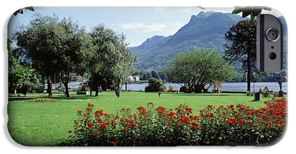 July iPhone Cases - Park Near Lake Lugano Bkgrd Mt Monte iPhone Case by Panoramic Images