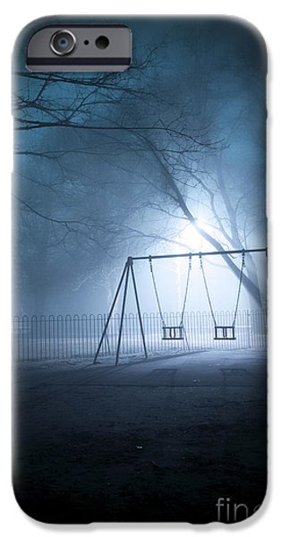 Eerie iPhone Cases - Park Play Area Swingset At Night In Fog iPhone Case by Lee Avison