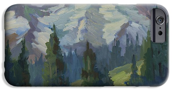 Pines iPhone Cases - Park Sunrise at Mount Rainier iPhone Case by Diane McClary