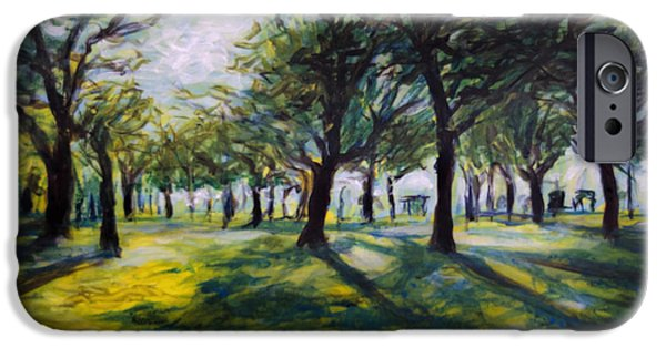 Park Scene Paintings iPhone Cases - Park Trees iPhone Case by Ron Richard Baviello