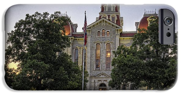 Small iPhone Cases - Parker County Courthouse iPhone Case by Joan Carroll