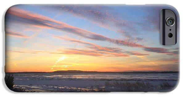Massachusetts Coast iPhone Cases - Parker River National Wildlife Refuge Winter Sunset iPhone Case by John Burk