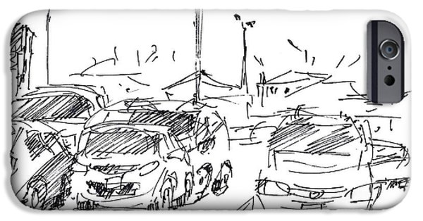 City Drawings iPhone Cases - Parking Lot  iPhone Case by Ylli Haruni