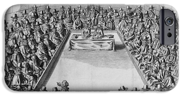 House iPhone Cases - Parliament During The Commonwealth, 1650 Engraving Bw Photo iPhone Case by French School