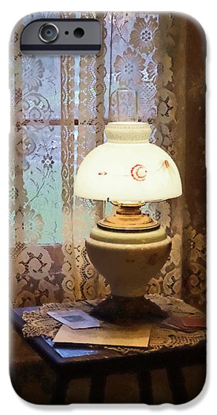 Hurricane Lamp iPhone Cases - Parlor With Hurricane Lamp iPhone Case by Susan Savad