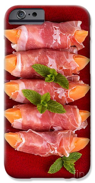 Delicatessen iPhone Cases - Parma ham and melon iPhone Case by Jane Rix