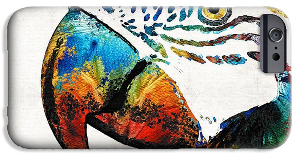 Sea Birds iPhone Cases - Parrot Head Art By Sharon Cummings iPhone Case by Sharon Cummings