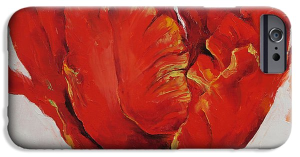 Michael iPhone Cases - Parrot Tulip iPhone Case by Michael Creese