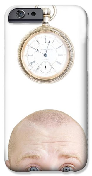 Watch Parts iPhone Cases - Part Of A Mans Head And A Stop Watch iPhone Case by Chris and Kate Knorr