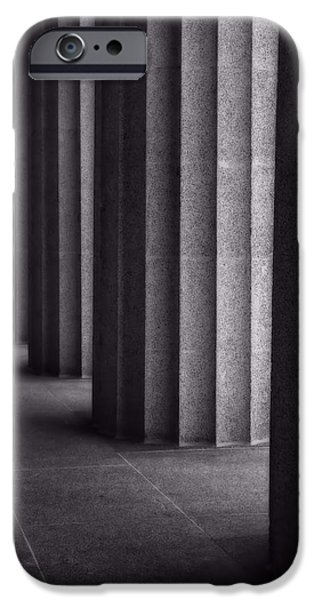 Buildings In Nashville iPhone Cases - Black And White Columns iPhone Case by Dan Sproul